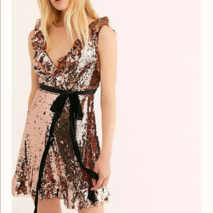 Free People Sequin New Years Rose Gold Dress NWOT